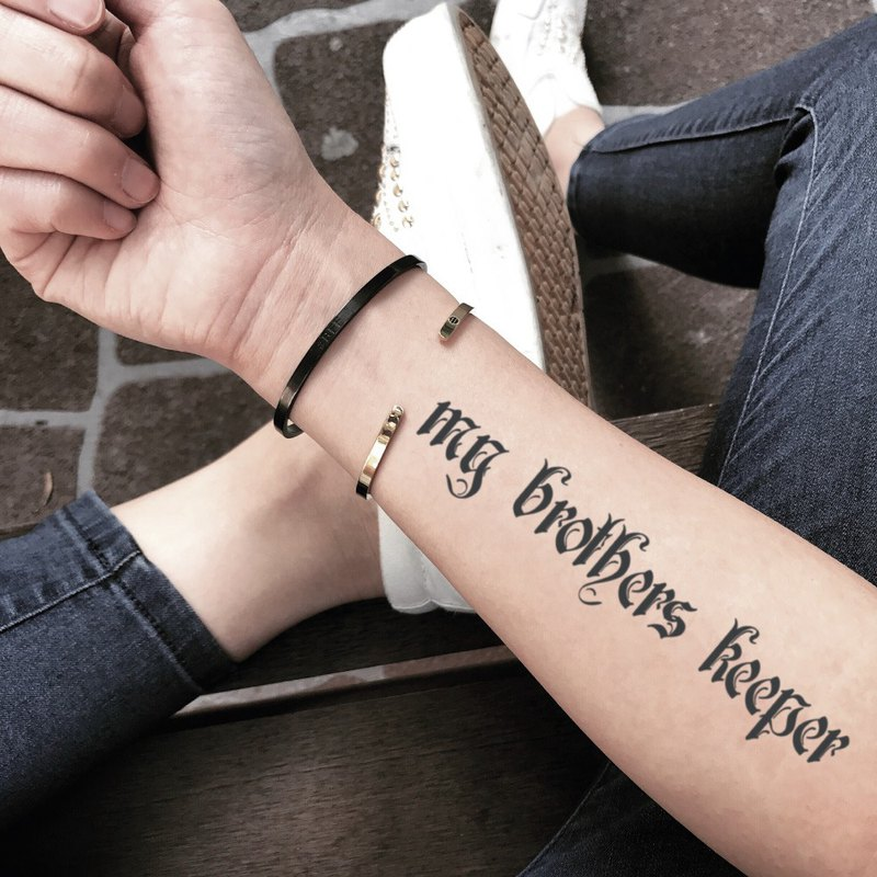 My Brothers Keeper Temporary Tattoo Designer Toodtattoo Pinkoi