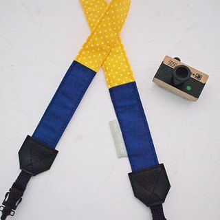 hairmo hit color stitching double back camera belt - sapphire blue + yellow dot 3/1 (double hole) +