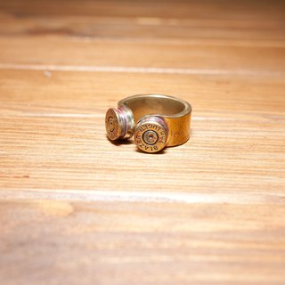 Dreamstation leather Pao Institute, handmade brass bullet casings ring.
