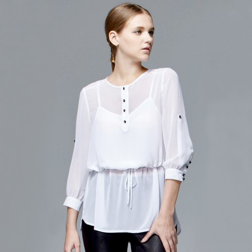 Chiffon drawstring long sleeve top with embroidery on upper back