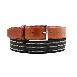 LAPELI │ Belgian elastic fabric belt - mix stripe black / dark gray