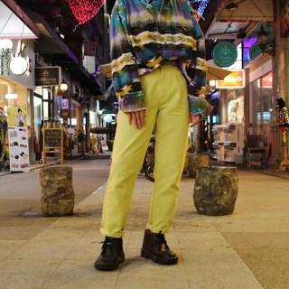 Tsubasa.Y vintage house Vintage VERSACE 011 fluorescent yellow trousers, Vintage VERSACE Jeans