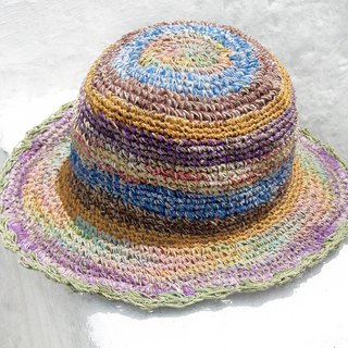 Valentine's Day gift limit a hand-woven cotton / hat / hat / fisherman hat / sun hat / straw hat / straw hat - gradient ice cream fruit lace colorful stripes
