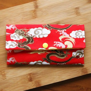 Longfeng Chengxiang Pouch - Magnum red pocket book hand made red envelope bag wedding cloth red bag horizontal red bag cute pouch hygienic storage bag