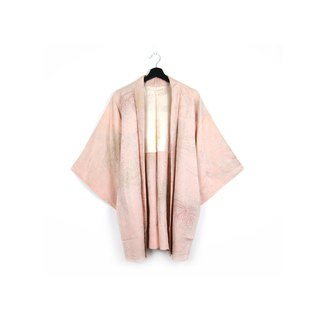 Back to Green-Japan with back feather woven pink glitter embroidery / vintage kimono