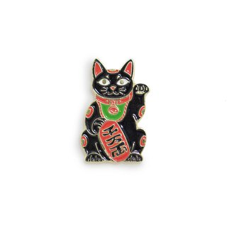 Maneki Cat Black Pin