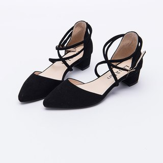 [Light Mature Women's Footprint]Leather Wraps with Thick Heel Sandals_高冷黑