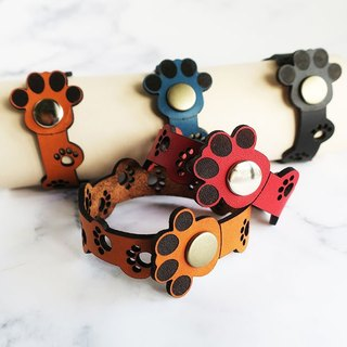 Genuine leather bracelet full of paws ☆ Parent and child 2 piece set