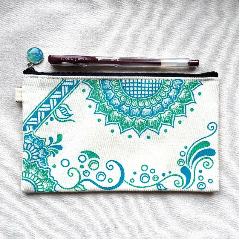 Hand Painted Henna bag Mandala bag Tiffany Blue Cyan Pattern Zipper Pouch Coin Purse Cotton Cosmetic Bag Pencil Case Phone Wallet Hand Drawn Art