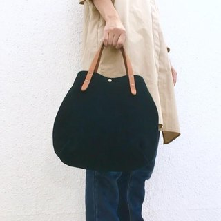 Round type tote bag of cow suede and extremely thick oil nude S-size 【Navy】