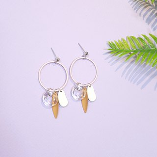 Transparent swimming ring series - coffee Ou Lei needle / ear clip handmade earrings Korea direct