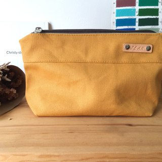 Mustard Personalize Zipper Pouch ,Canvas Cosmetic Pouch,Bridesmaids Gift - Kelly