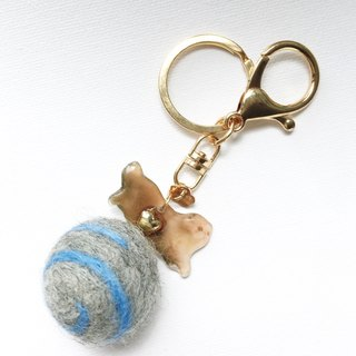 I came from Meow Planet Kik handmade cat felt ball keychai