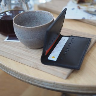 Leather Card Holder: The Ringwood East Leather Card Holder-L027-cow leather, card holder, case, hand sewn, slim, black, gift, personalised, unisex, leather case, card wallet, 黑色,牛皮,銀行卡錢包,卡套,皮夾,錢包,中性,手工縫製,禮物,訂製