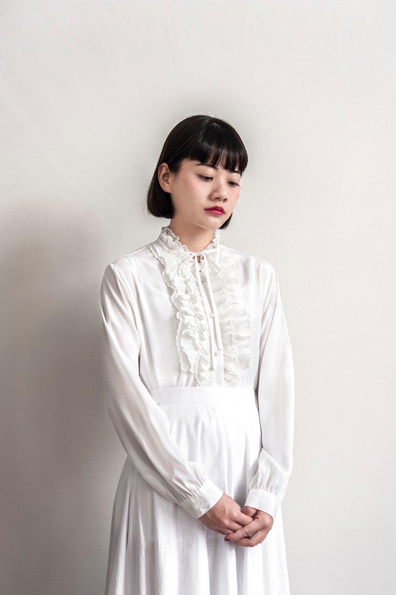Vintage Pure White Long Sleeve Shirt