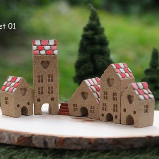 Ceramic House- Set of 6 (5 houses + 1 stair)
