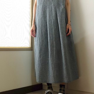 Daily hand-made blue and green French-style sleeves, wide-length, long dress, and cotton