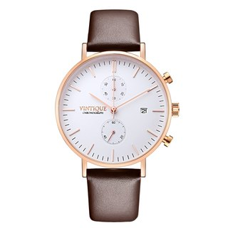 [Vintique] chronograph watch simple design sapphire glass rose gold stainless steel case leather strap CH-WR02