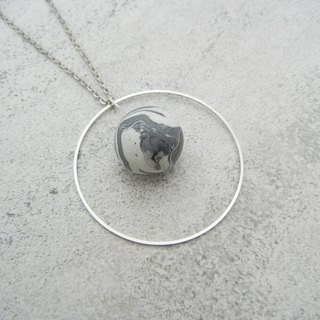 *Flocoubird*gray planet big ring necklace