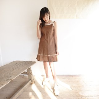 Natural Dyed Thai Saloo Cotton Knee Length Dresses Brown Color