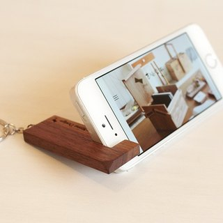 Pre-ordered money - wood mobile phone holder - key ring - warm dark color