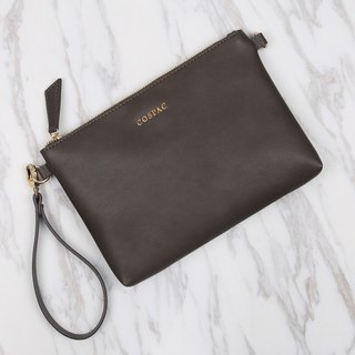 Functional Design Small Grey Color PU Synthetic Leather Portable Zipper Pouch