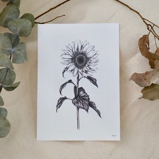 Sunflower postcard wood frame group hand-drawn style printing