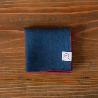 The indigo dyeing organic linen handkerchief (solid color: pale blue-green)