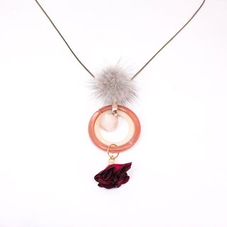 Beast Rose │ Rose Fluffy Pendant Necklace