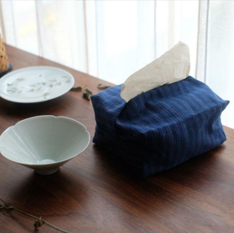 藍色 條紋土布 手織布面紙盒 棉麻布藝抽紙盒 紙巾盒紙巾套面紙套