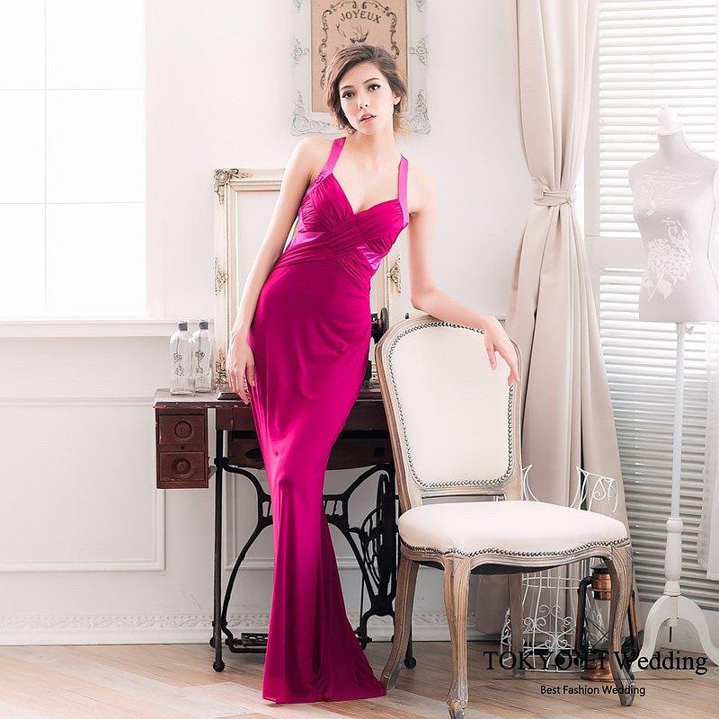 東京衣服-仙杜瑞拉 雙肩編織網紗緞布裸背顯瘦長禮服