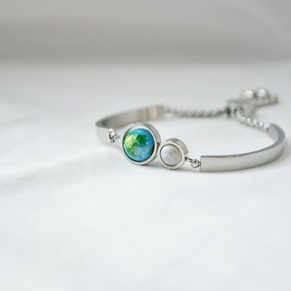 Baby blue Earth Moon Bangle -- silver