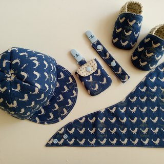 Blue sky bird birthday gift baby shoes + baby hat + scarf + peace bag + universal clip <picture a little color difference>