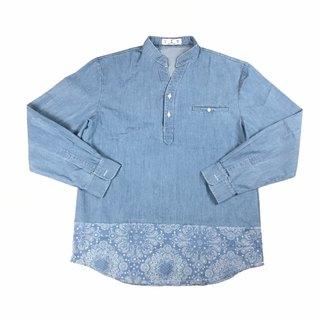 Stitching Henry collar denim shirt
