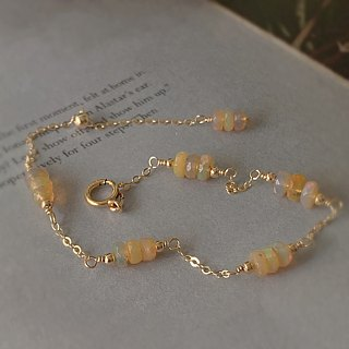 Ice crystal light color [孔赛石/紫紫辉石] 14K gold 1/20GF pearl tassel ore bracelet