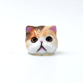 Tricolor cat hand-painted cat French enamel brass ring can customize your cat color