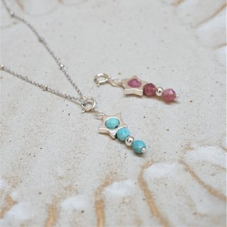 << Meteor - Natural Stone Sterling Silver Necklace >> Pink Tourmaline Turquoise Sterling Silver Necklace