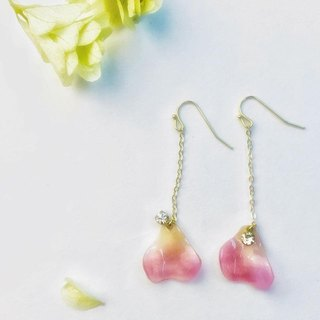 Rose Petal with Crystal Earrings Ear clips