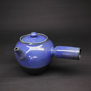 Cobalt blue glaze 瓮 shape two curved mouth side teapot hand made pottery tea props