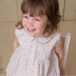 100%Sleeveless dress with Peter Pan collar, spots on taupe