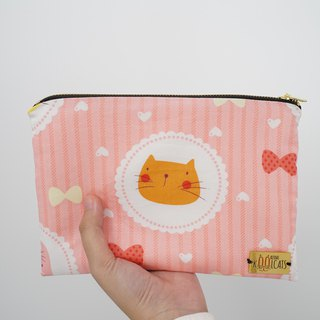 Mixed Material Pouch with Orange Cat