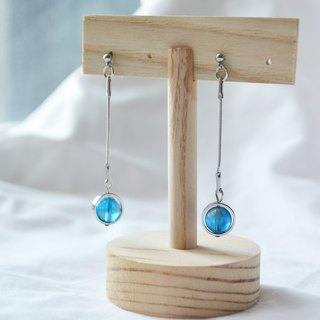 Blue Planet Earrings -- silver
