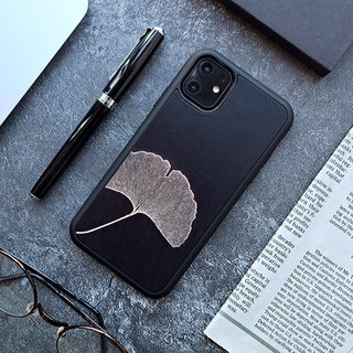 Black ginkgo leaf iphone 6 6s 7 8 plus x xs max xr leather phone case case