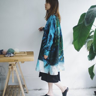 Blue and green tile printed linen jacket