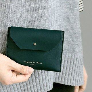 ICONIC staff style leather ticket holder purse L-peacock green, ICO52163