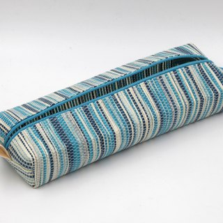 Paper cloth home] pencil bag, stationery bag (corrugated blue)