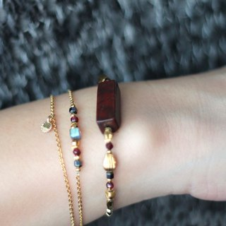 若绯. Natural ore bracelet red jasmine garnet labradorite hematite 24K gold pure copper