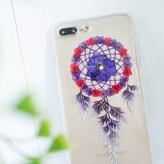 Pressed Flower Dreamcatcher Phone Case | Purple & Red