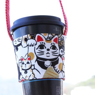 Wen Qingfeng green cup cover burst Meng lucky cat storage bag cotton linen picnic storage Lucky cat hand-sided environmentally friendly beverage bag suction hand cup coffee bag exchange gifts