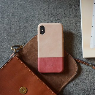 iPhone X two-tone leather phone case - quartz powder / coral red / no card /